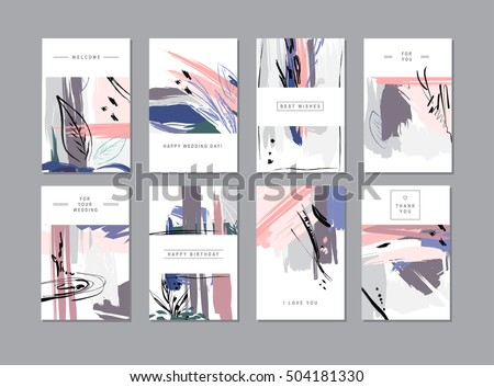 Set of creative universal floral cards in trendy style with Hand Drawn textures.  Greeting Cards, Wedding, Anniversary, Birthday, Valentin's day, Thank You,  Party invitations.  Vector illustration
