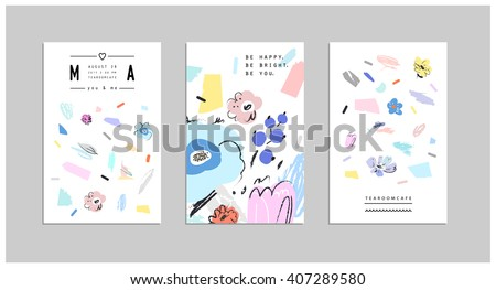 Set of creative universal floral cards. Wedding, anniversary, birthday, Valentin's day, party invitations, art poster. Vector. Isolated. - stock vector