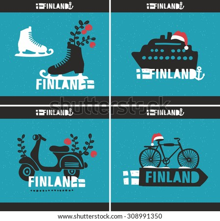 Set of creative vector illustrations, labels of Scandinavian country - Finland. Isolated on the blue background. - stock vector