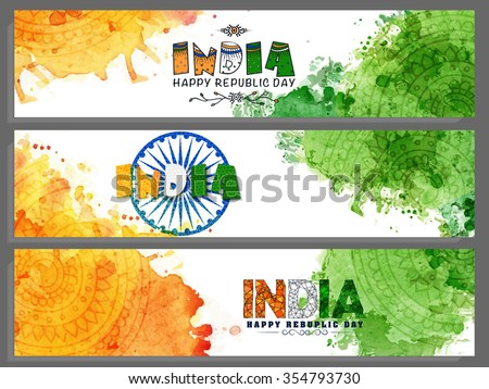 Set of creative website headers or banners with saffron and green colours splash for Happy Indian Republic Day celebration. - stock vector