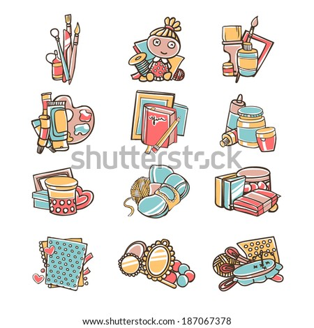 Set of creativity icons  - stock vector