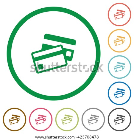Set of Credit card color round outlined flat icons on white background - stock vector