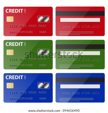 Set of Credit Card isolated on white background vector