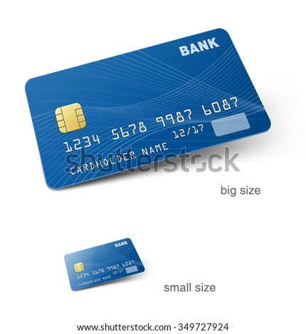 Set of credit cards isolated on white background. Detailed vector illustration