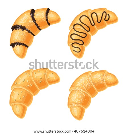 Set of croissants with chocolate, nuts and powdered sugar range, isolated on a white background. Vector illustration for web design or print brochures - stock vector