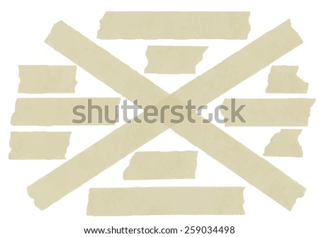 Set of cross adhesive tape. Vector illustration - stock vector