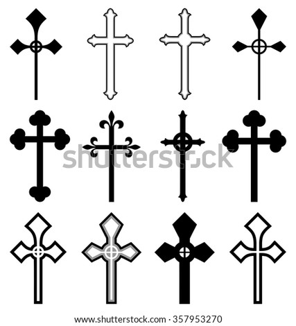 Set of cross silhouettes isolated on white background
