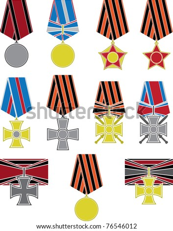 set of crosses and medals. vector illustration - stock vector