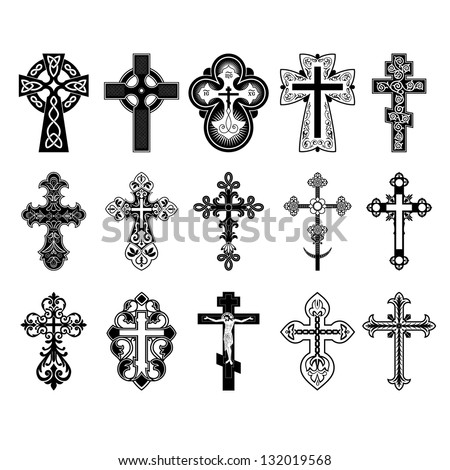 Set of crosses. Vector Eps 10. - stock vector