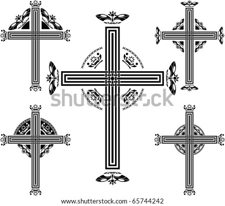 set of crosses. vector illustration