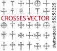 Set of Crosses Vector pencil scribble - stock vector