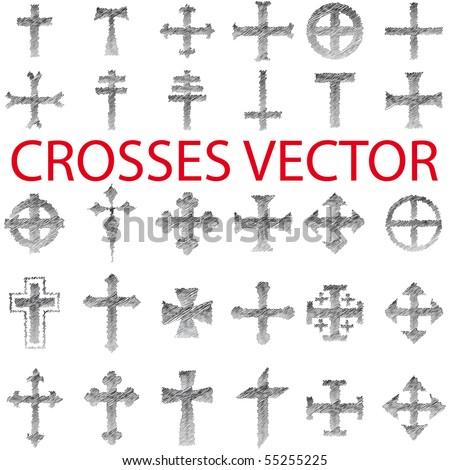 Set of Crosses Vector pencil scribble - stock vector