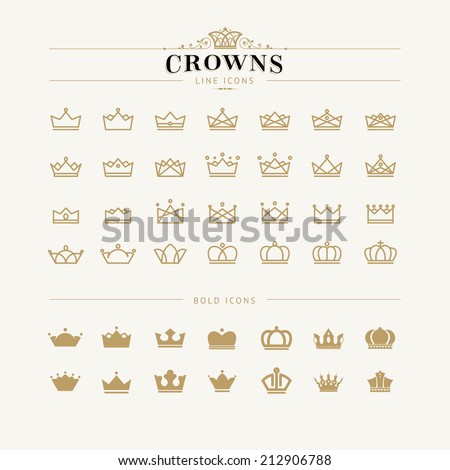 Set of crown line and bold icons - stock vector