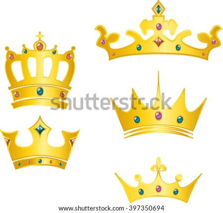 set of crowns - stock vector