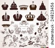 Set of crowns and vintage ornaments for design. - stock vector