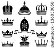 set of crowns, vector illustration - stock vector