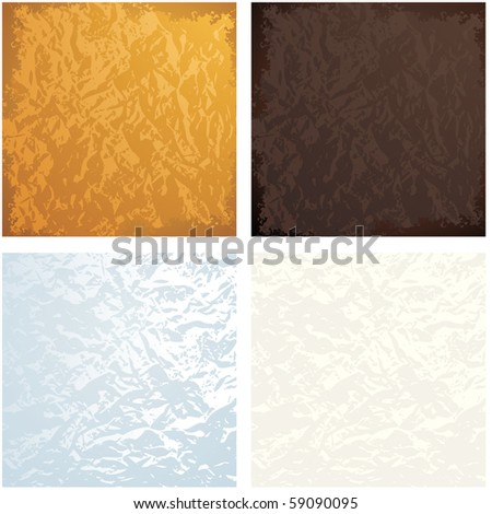 Set of Crumple Foil Texture vector backgrounds - stock vector
