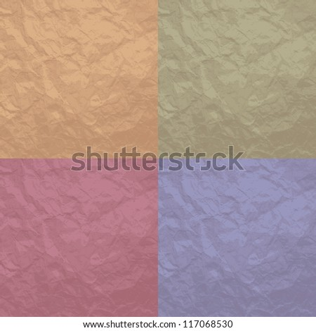 Set of 4 crumpled texture background for design. Vector illustration. EPS10 - stock vector