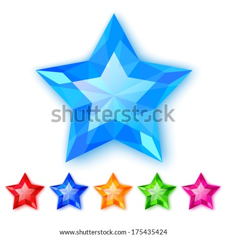 Set of crystal stars isolated on white background - stock vector