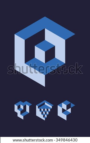 Set of cubic objects, useful for corporate or science logo. Vector