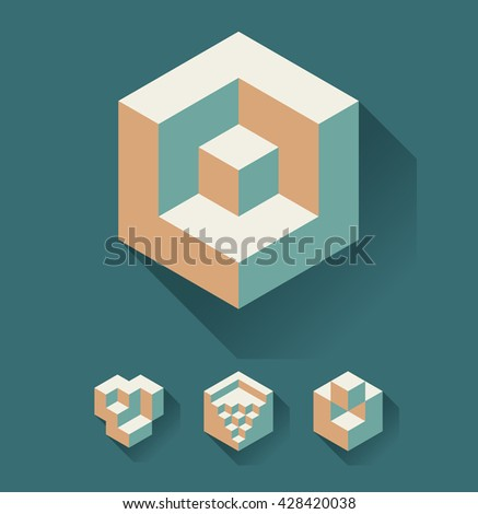 Set of cubic objects, useful for corporate or science logo. Vector - stock vector