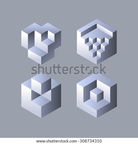 Set of cubic objects. Vector