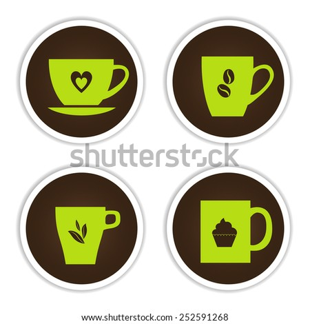 Set of cup icons: four light green cups on chocolate background.