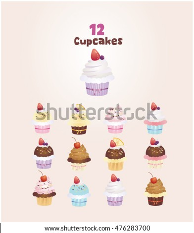 Set of cupcake. isolated vector illustration.