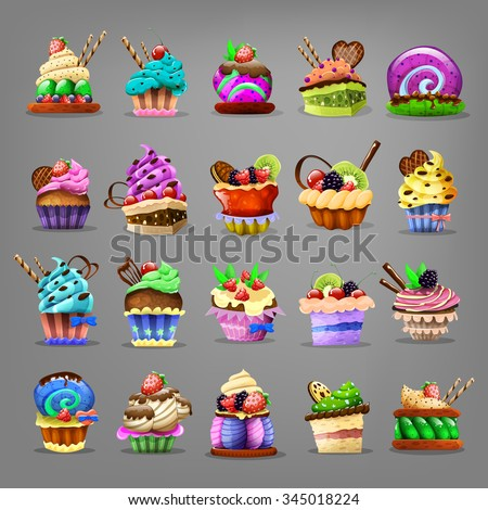 Set of cupcake. Vector illustration. - stock vector
