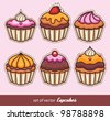 Set of Cupcakes - stock vector