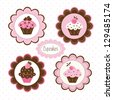 Set of cupcakes  vector labels - stock vector