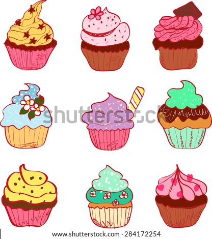 set of cupcakes, vector on a white background