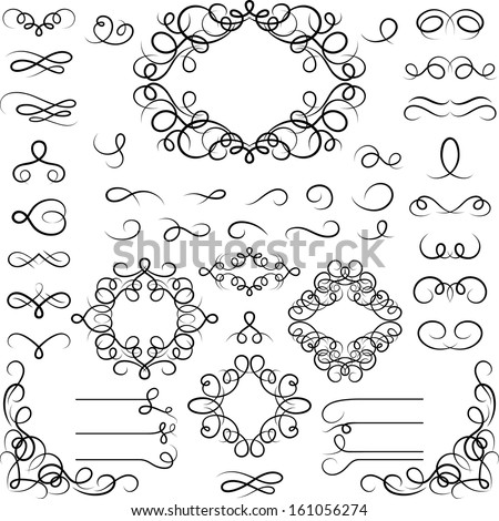 Set of curled calligraphic design elements. - stock vector
