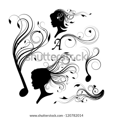 set of curly design elements in black - stock vector