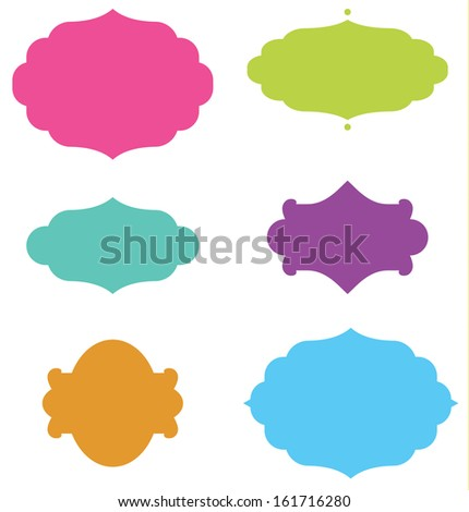 Set of Curly Frame Shapes - stock vector