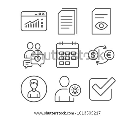 Set of Currency exchange, User idea and Web traffic icons. Calendar, View document and Copy files signs. Person, Dating chat and Checkbox symbols. Banking finance. Light bulb. Website window. Vector