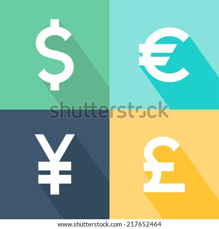 Set of currency icons. Currency converter symbol. Vector illustration - stock vector