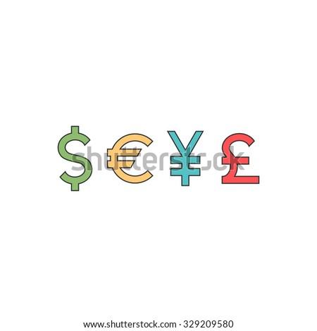 set currency signs converter symbols vector stock vector 329209580