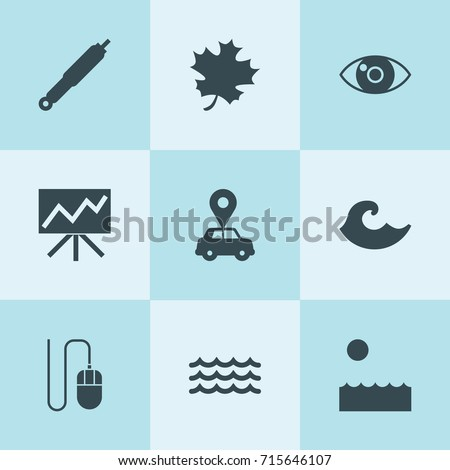 Set of 9 curve filled icons such as suspension, car pin, acer leaf, eye, line graph on board, mouse, sea
