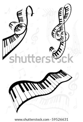 Set of curvy abstract music backgrounds - stock vector