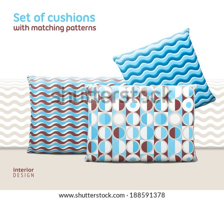 Set of cushions and pillows with matching seamless patterns. Interior, furniture design elements. EPS10 vector, meshes, transparencies used. Pattern swatches included - stock vector