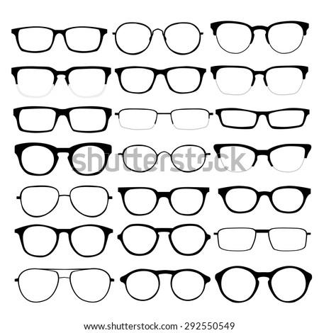 set custom glasses isolated vector illustration stock