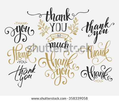 Set of custom THANK YOU hand lettering. Vector illustration - stock vector