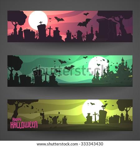 Set of customizable Halloween vector banners, cartoon backgrounds - stock vector
