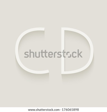 Set of cut paper capital letters, C and D. Eps 10.  - stock vector