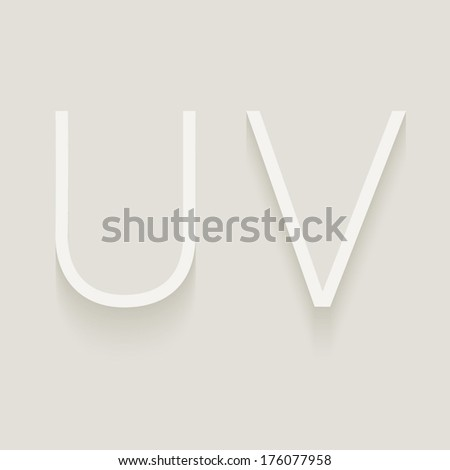 Set of cut paper capital letters, U and V. Eps 10.  - stock vector