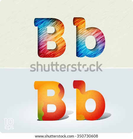 """Set of cut paper vector letters and bright, positive letters with noise and shadows. The capital letters """"B"""" and lowercase """"b.""""  EPS10. - stock vector"""