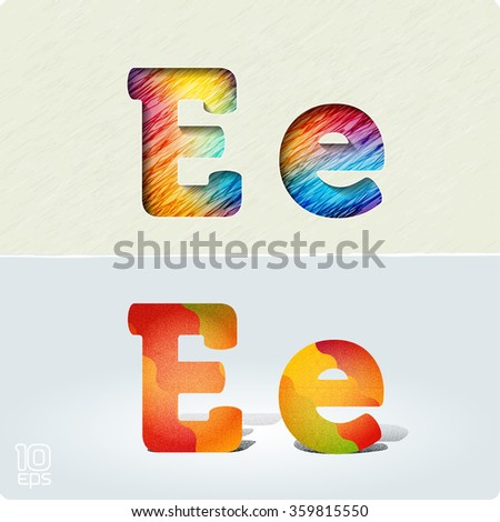 """Set of cut paper vector letters and bright, positive letters with noise and shadows. The capital letters """"E"""" and lowercase """"e."""" EPS10. - stock vector"""