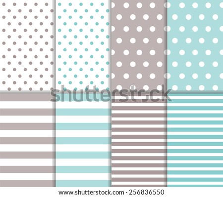 Set of cute abstract seamless big and small polka dot pattern and horizontal lined textile on pastel blue and light gray color background with white dots and stripes. Vector art image illustration - stock vector