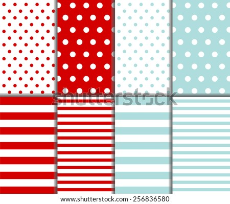 Set of cute abstract seamless big and small polka dot pattern and horizontal lined textile on light blue and dark red background with white dots and stripes. Vector art image illustration - stock vector